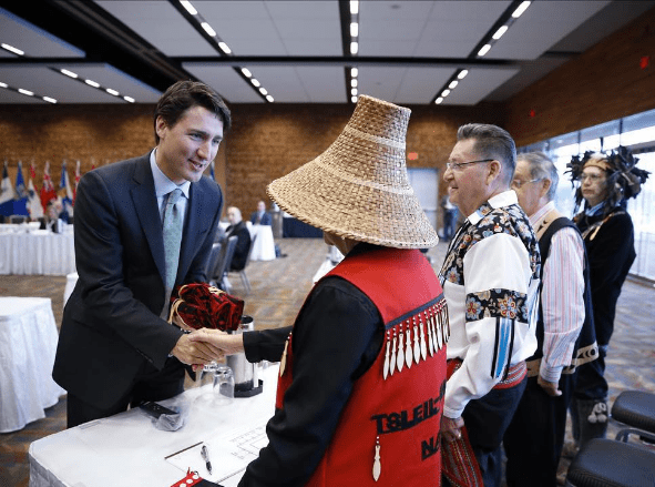 Prime Minister Justin Trudeau pictured with Indigenous leaders from across Canada during a summit to discuss  jobs, climate and clean growth. Photo: Justin Trudeau/Instagram