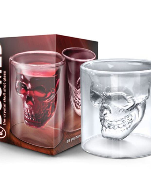"Available at INKEDSHOP.COM: ""Doomed Skull"" Shot Glass"
