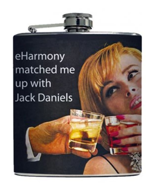 """Available at INKEDSHOP.COM: """"eHarmony Match"""" Flask by Liquid Courage"""