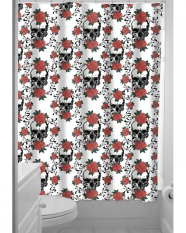 "Available at INKEDSHOP.COM: ""Skulls and Roses"" Shower Curtain"