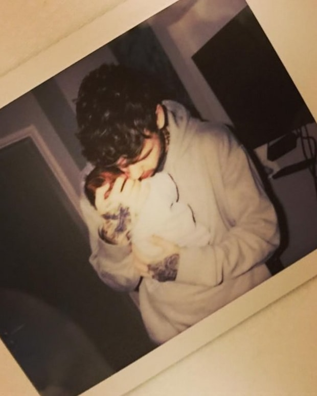 Singer, Liam Payne, with his newborn son, Bear Grey Payne. Photo: Instagram.