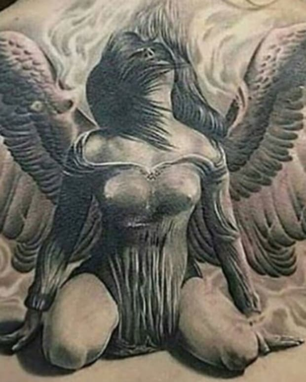 back tattoo angel wings