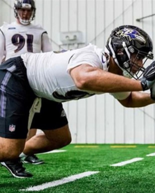 Chris Wormley during spring training with Baltimore Ravens. Photo: Instagram.