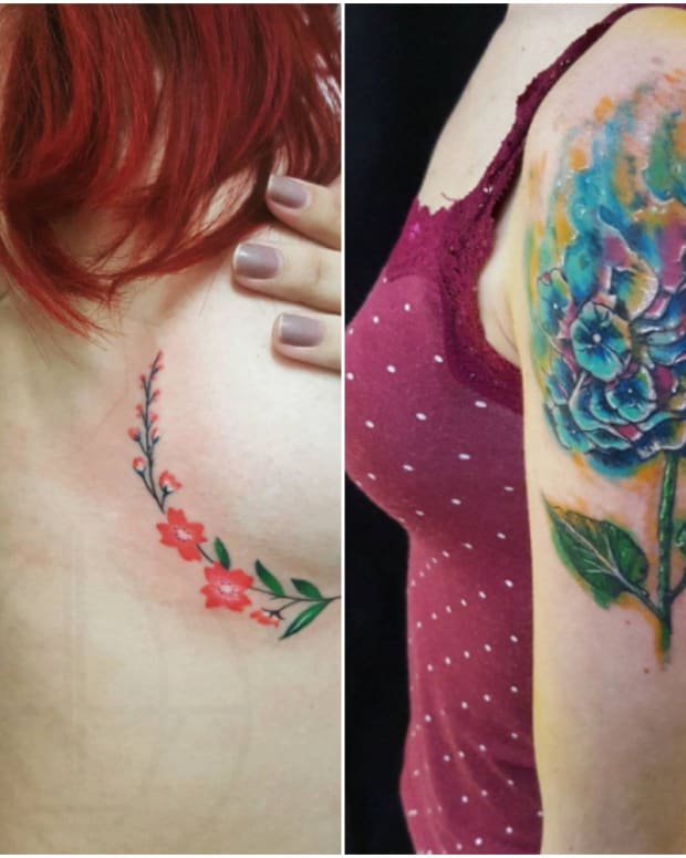 two pics of flowre tattoos