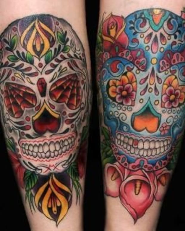Sugar skull day of the dead tattoos