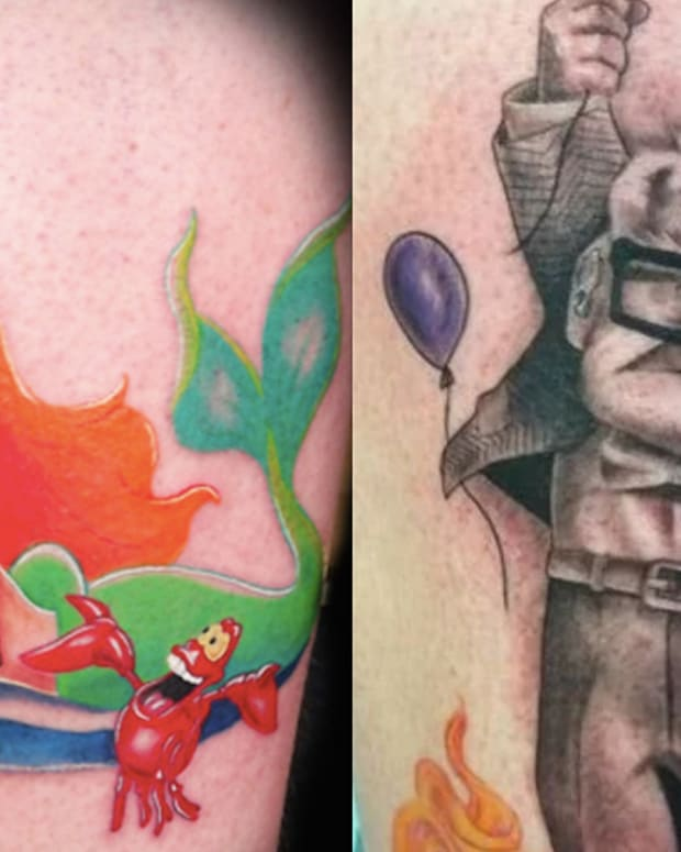 two shots of disney tattoos