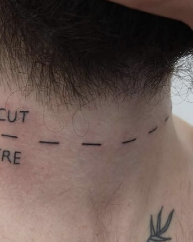 crazy cut here tattoo neck
