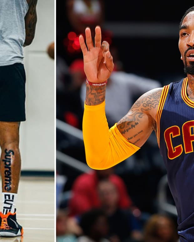 Cleveland Cavaliers, JR Smith, JR Smith tattoo, supreme tattoo, nba tattoo rules, does nike rule the nba, NBA, Ban Corporate Ink, JR Smith, Cleveland Cavaliers, Supreme Tattoo, MarcinGortat, inked mag