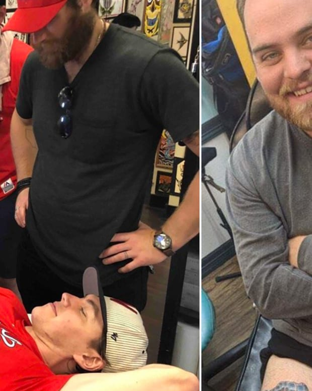Washington Capitals' Fan Gets A Wario Stanley Cup Tattoo To One-Up TJ Oshie, TJ Oshie mario kart tattoo, TJ oshie Wario tattoo, Tommy Savarie, Washington Capitals tattoos, mario kart tattoos, NHL tattoos, Stanley Cup tattoos, Brett Connolly, Brett Connolly eating pizza while getting a tattoo, INKED
