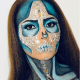 This blue sugar skull look is pretty badass.