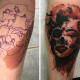 The tattooer behind this tattoo used the birthmark to create shading and dimension to this tattoo of Marilyn Monroe.