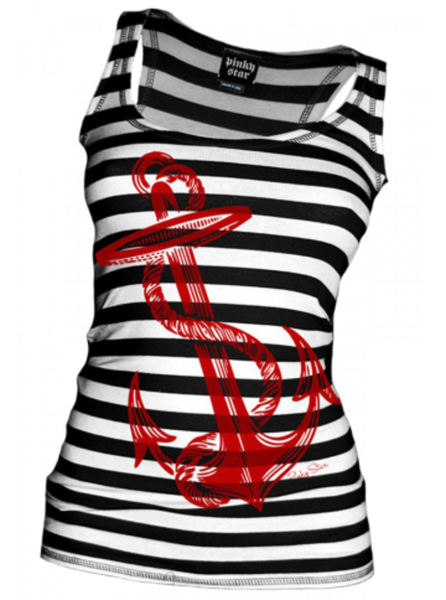 "Available at INKEDSHOP.COM: Women's ""Anchors Aweigh"" Tank by Pinky Star"