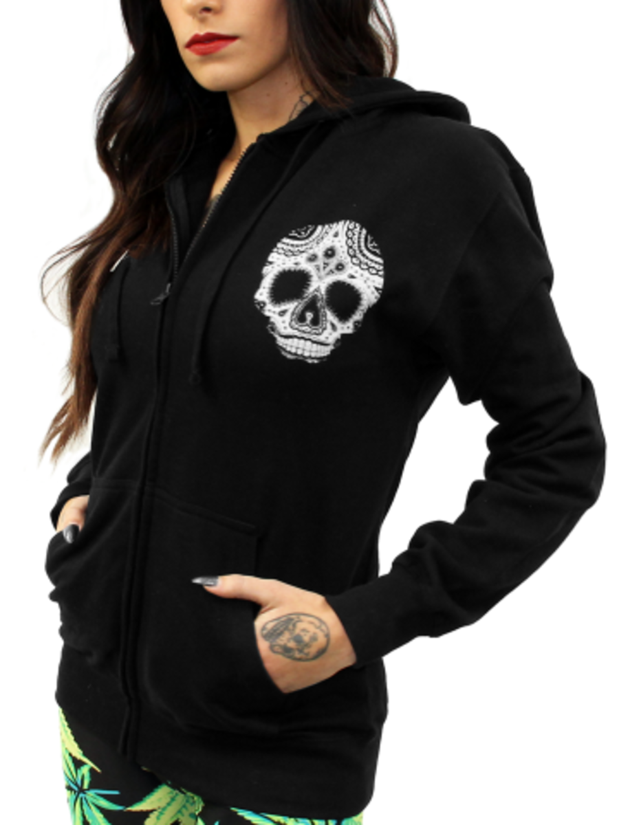 "Available at INKEDSHOP.COM: Unisex ""Skully Heart"" Zip-up Hoodie by Inked x Cartel Ink"