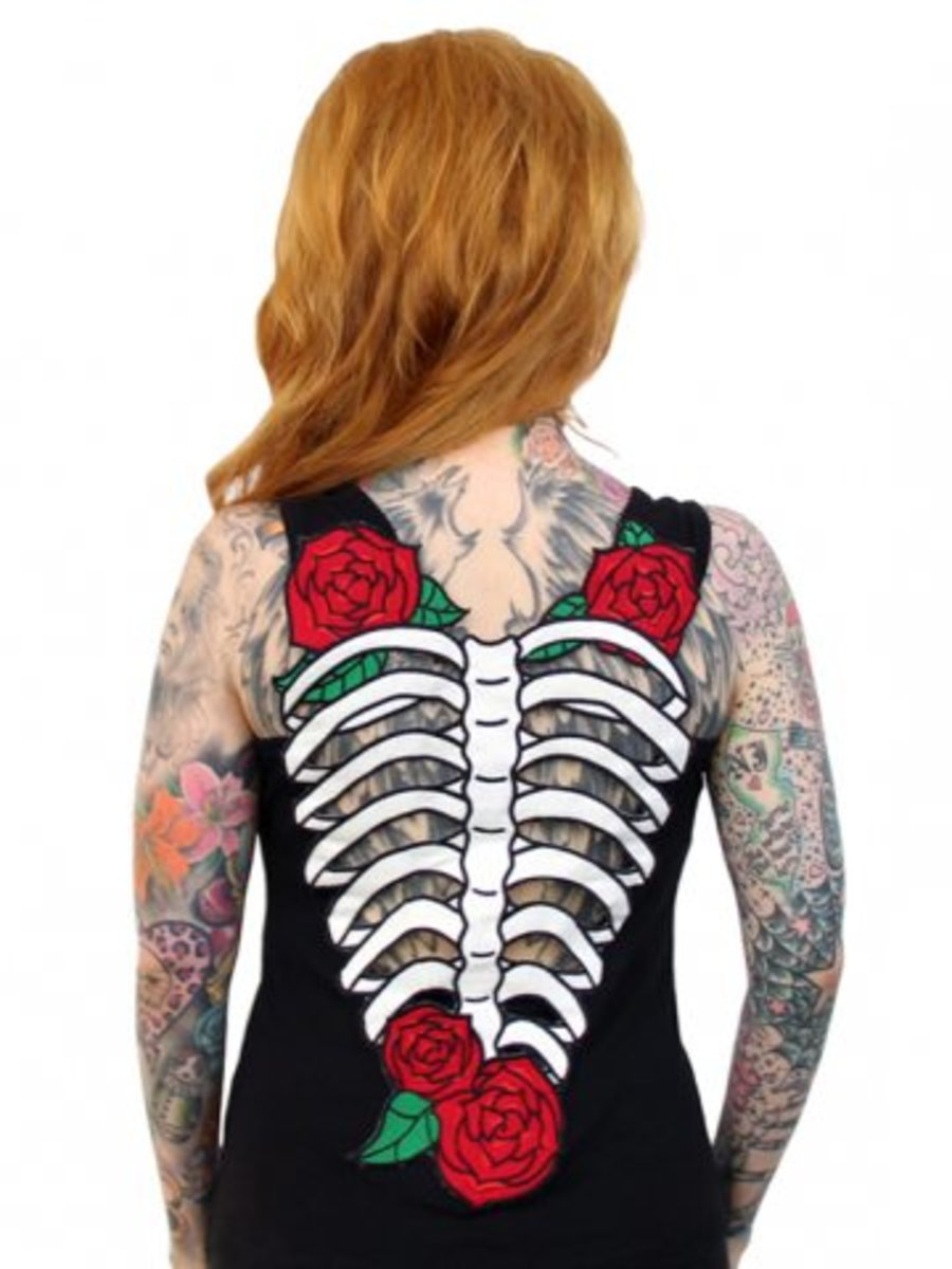 "Available at INKEDSHOP.COM: Women's ""Skelerose"" Tank by Hell Bunny"