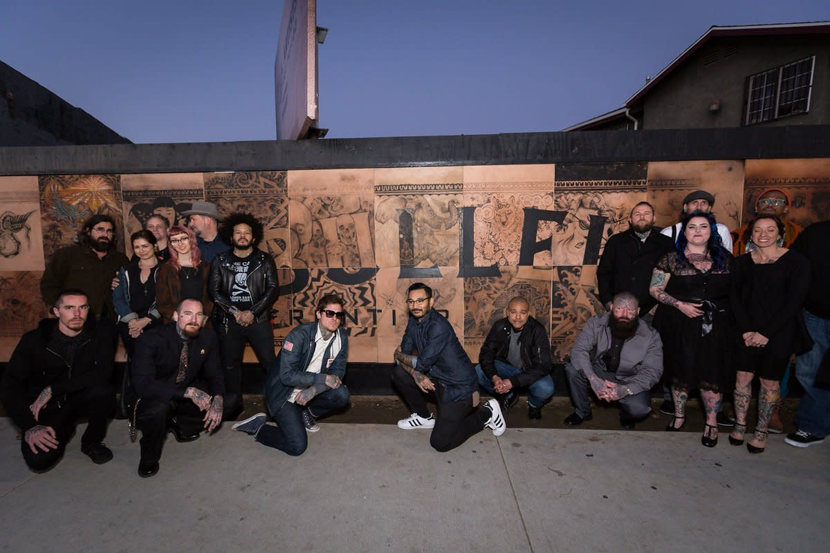 (Group of Bulleit Frontier Works Tattoo Artists. Photo: Elizabeth Dixon on behalf of Bulleit Frontier Whiskey)