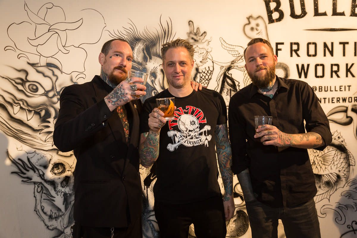 (Artists Brandon Notch, Shawn Barber and Dave Horn. Photo: Elizabeth Dixon on behalf of Bulleit Frontier Whiskey)