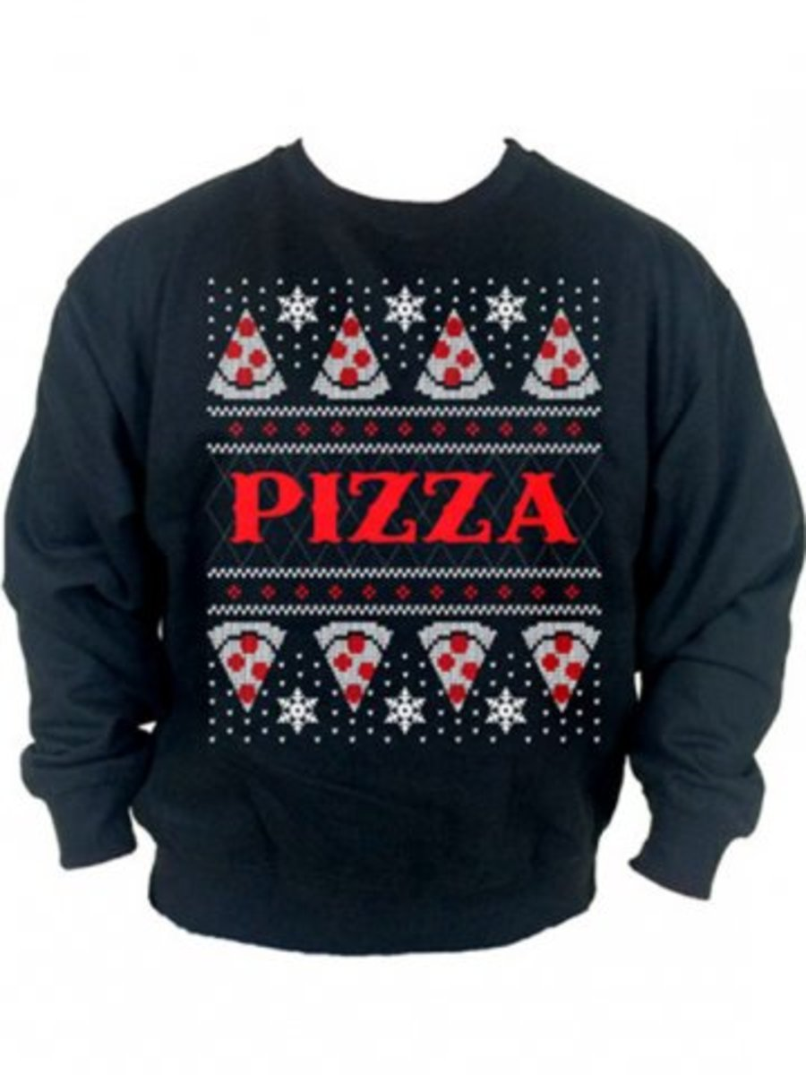 "Available at INKEDSHOP.COM: Unisex ""Pizza"" Christmas Sweatshirt by Cartel Ink"