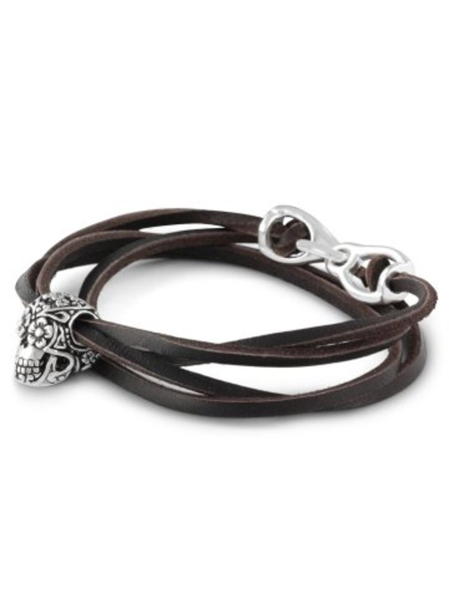 """Available at INKEDSHOP.COM: """"Day of the Dead"""" Leather Bracelet by Lost Apostle"""