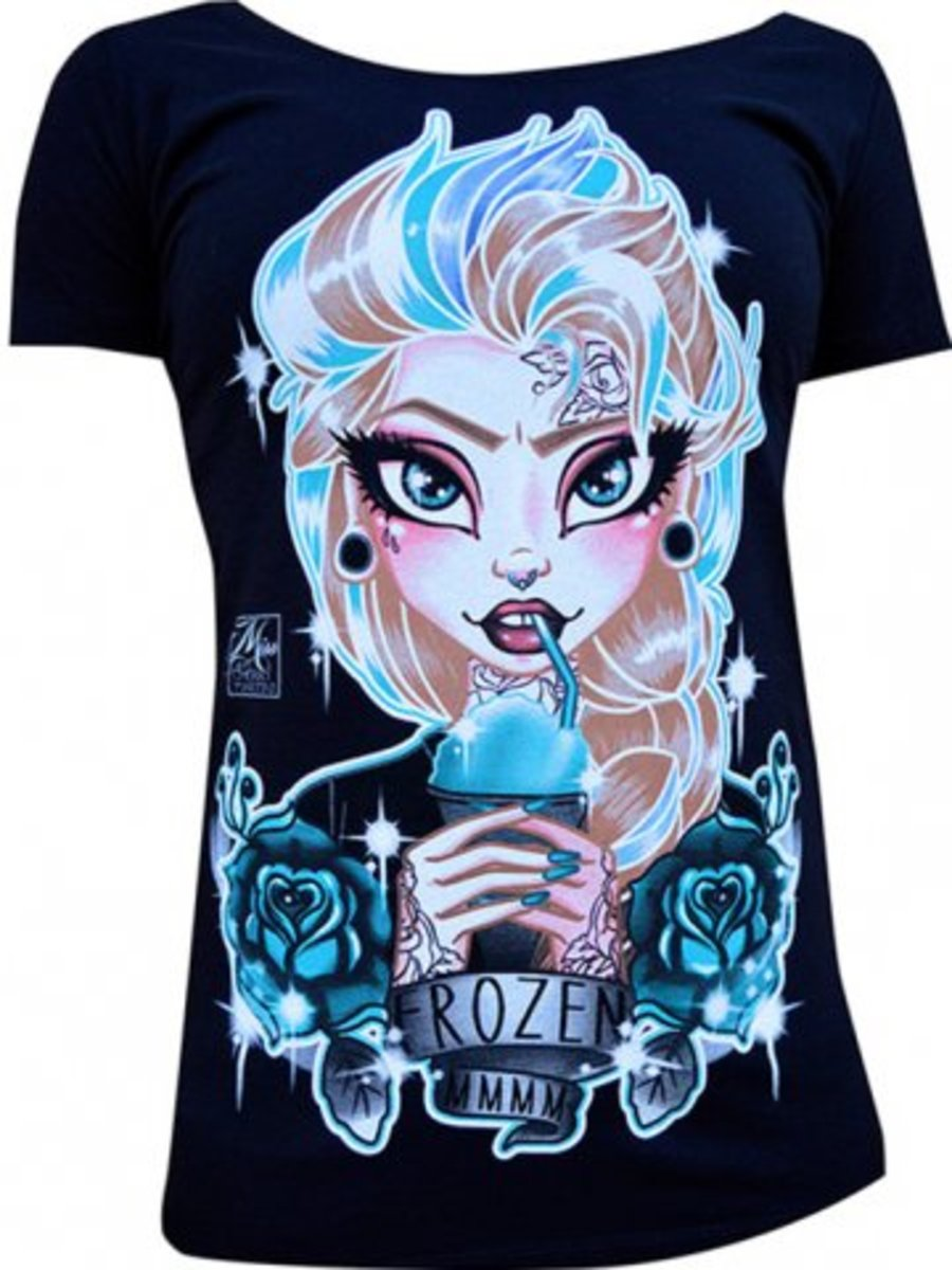 "Available at INKEDSHOP.COM: Women's ""Frozen"" Scoop Neck Tee by Black Market Art"