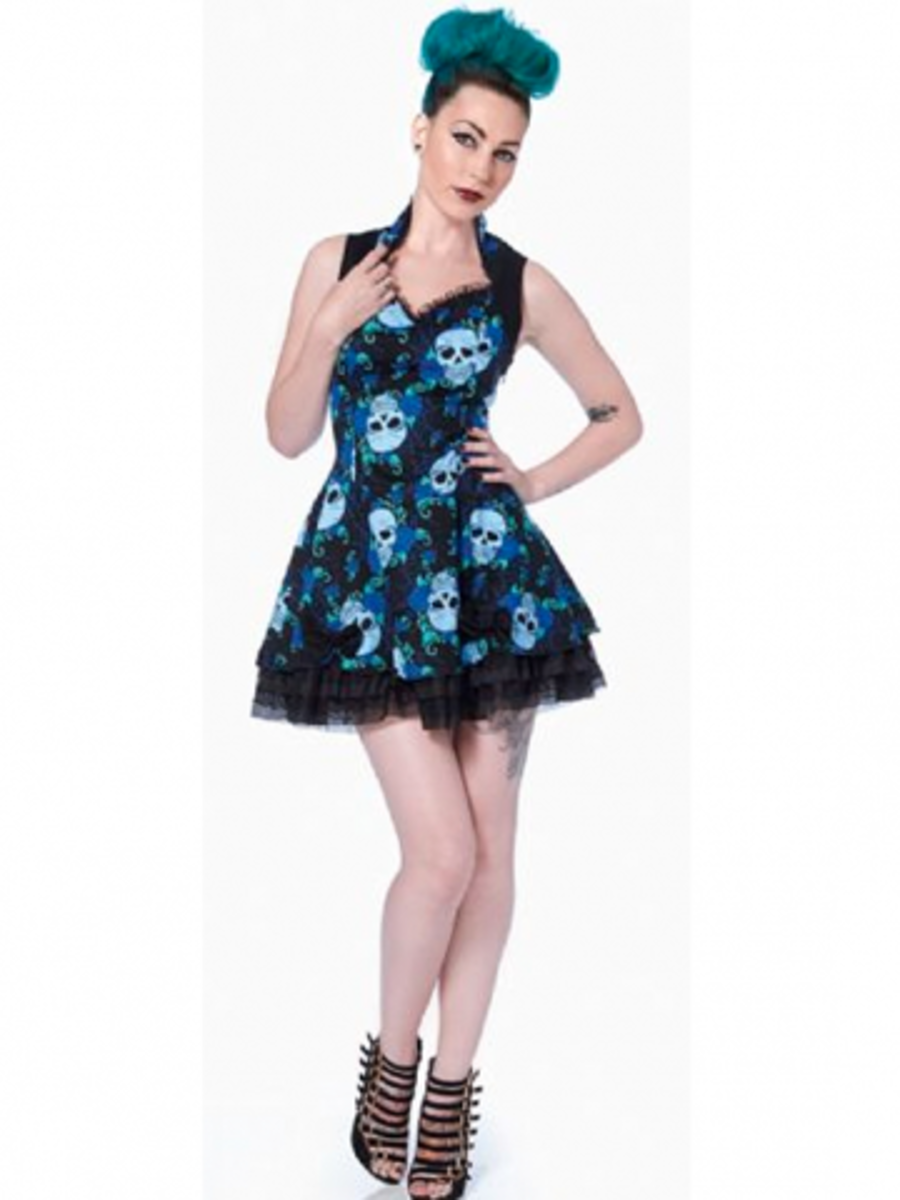 "Available at INKEDSHOP.COM: Women's ""Skull Rose"" High Collar Dress by Jawbreaker"