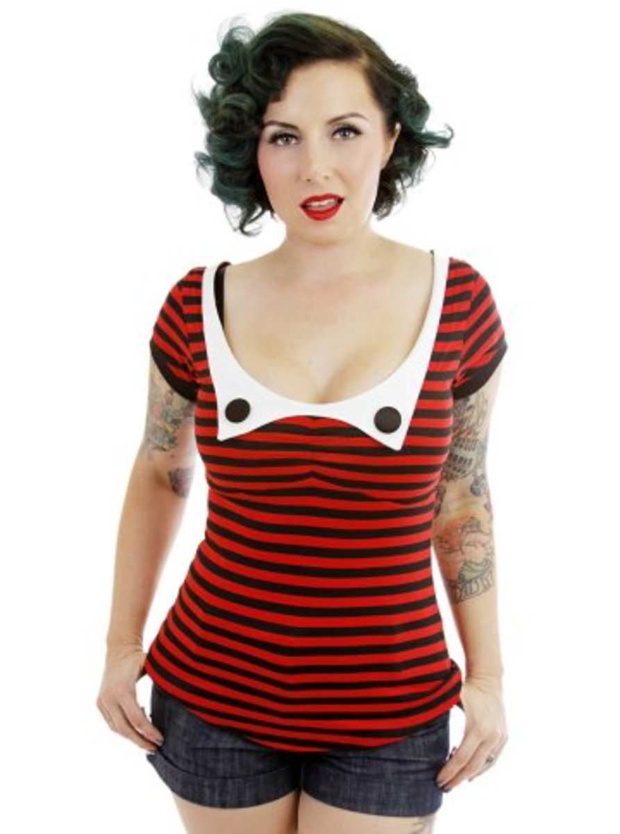"Available at INKEDSHOP.COM: Women's ""Jacqui Collar"" Top by Jessica Louise"