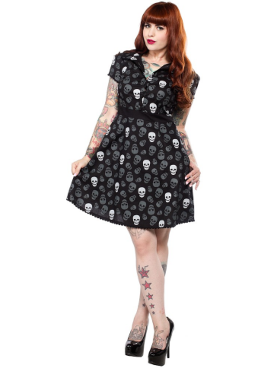 "Available at INKEDSHOP.COM: Women's ""Lust For Skulls"" Rizzo Dress by Sourpuss Clothing"