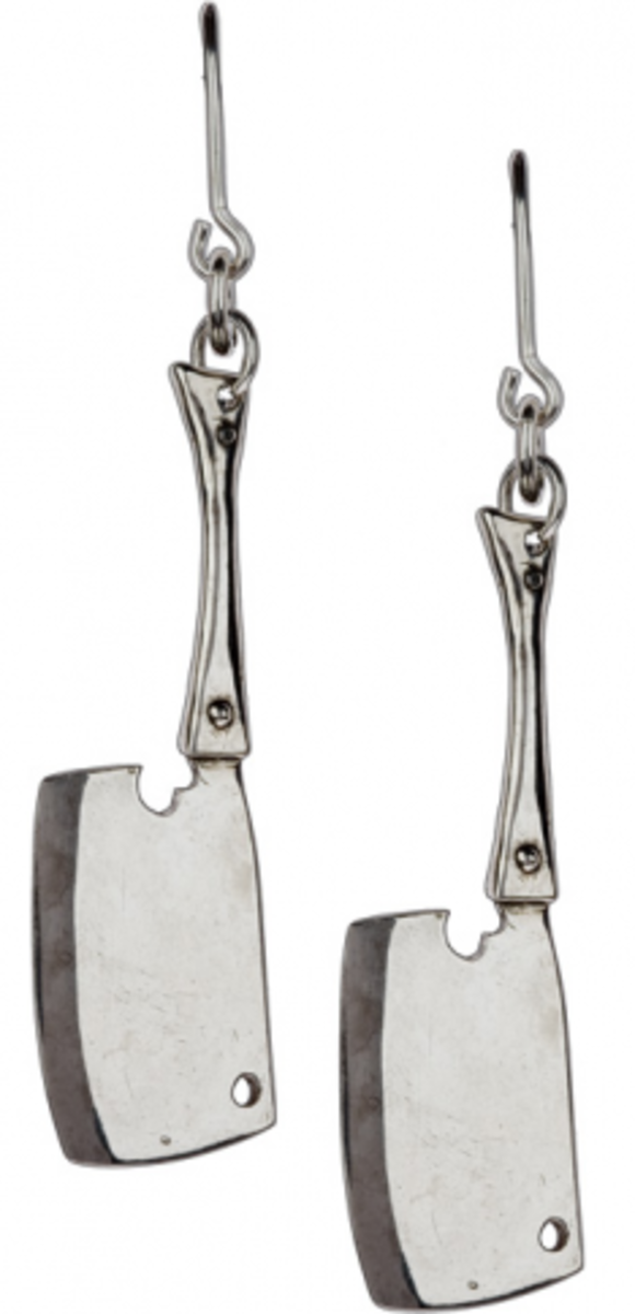 Available at INKEDSHOP.COM: Butcher Knives Sterling Silver Earrings by SpragWerks