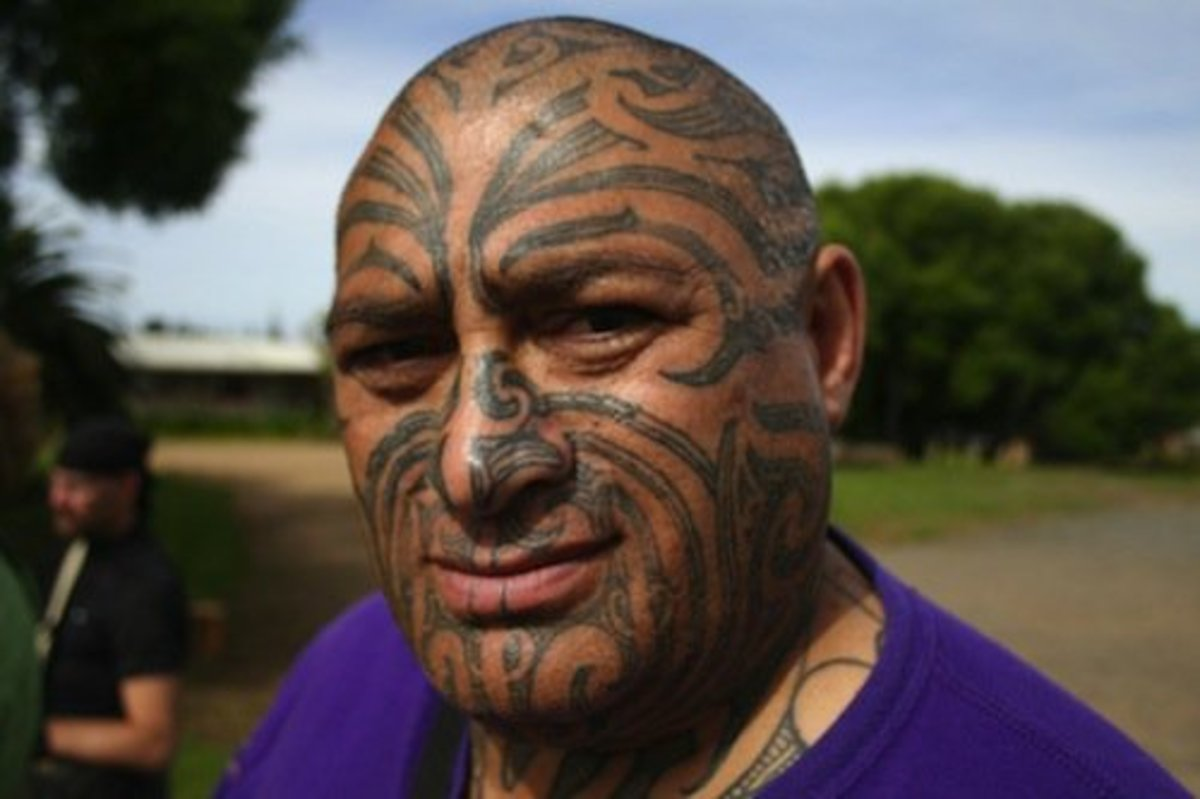 Traditional ta moko on a Maori man