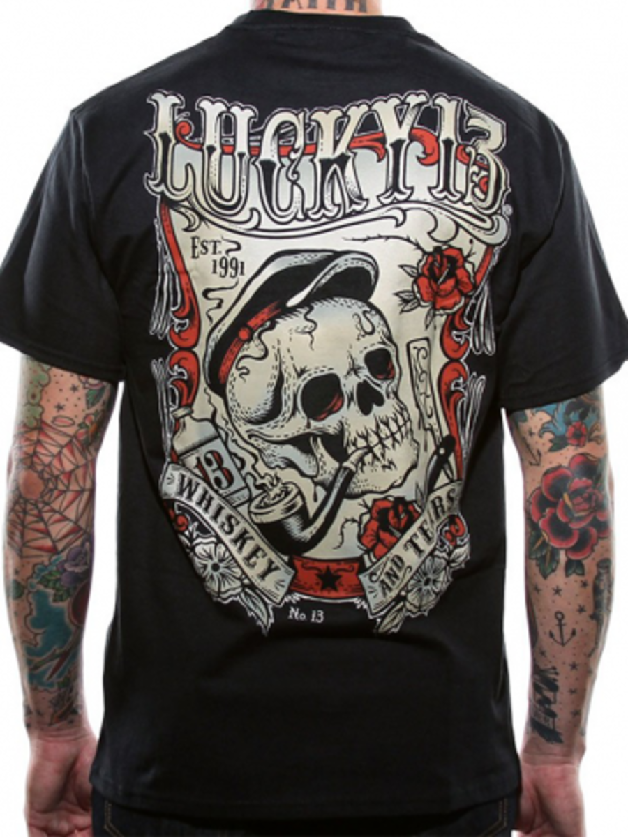"Available at INKEDSHOP.COM: Men's ""Whiskey and Tears"" Tee by Lucky 13"