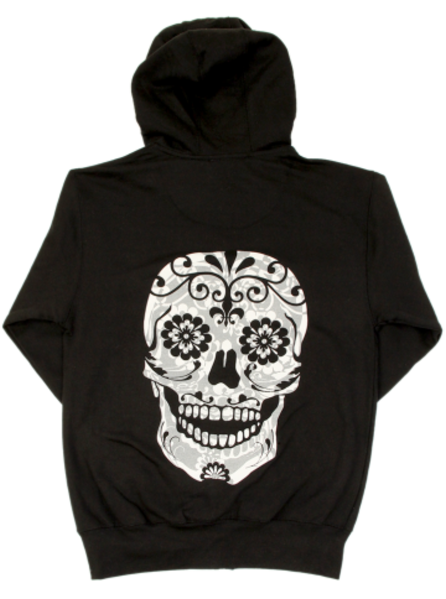 "Available now at INKEDSHOP.COM: Unisex ""Sugar Skull"" Zip-Up Hoodie by Inked X Cartel Ink"