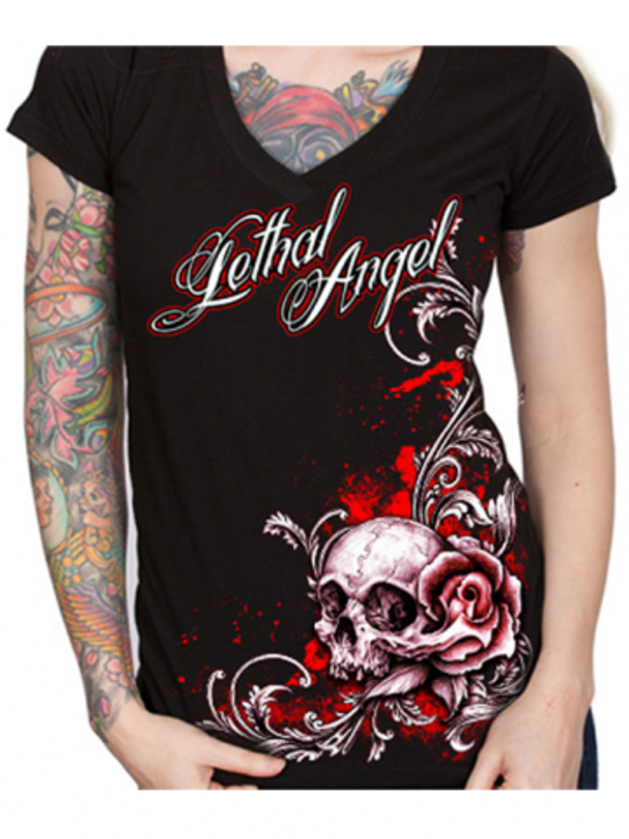 "Available at INKEDSHOP.COM: Women's ""Floral Rose Skull"" Tee by Lethal Angel"