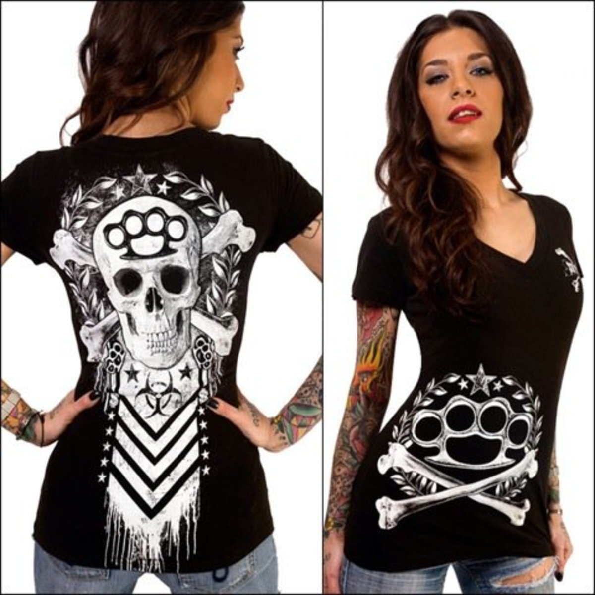 "Available at INKEDSHOP.COM: Women's ""True Brutality"" V-Neck Tee by Skygraphx"