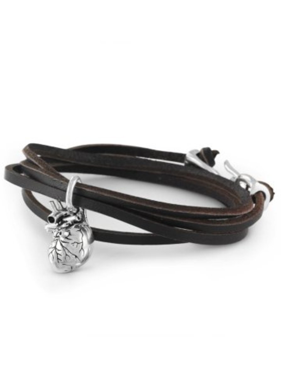 "Available at INKEDSHOP.COM: ""Anatomical Heart"" Leather Bracelet by Lost Apostle"