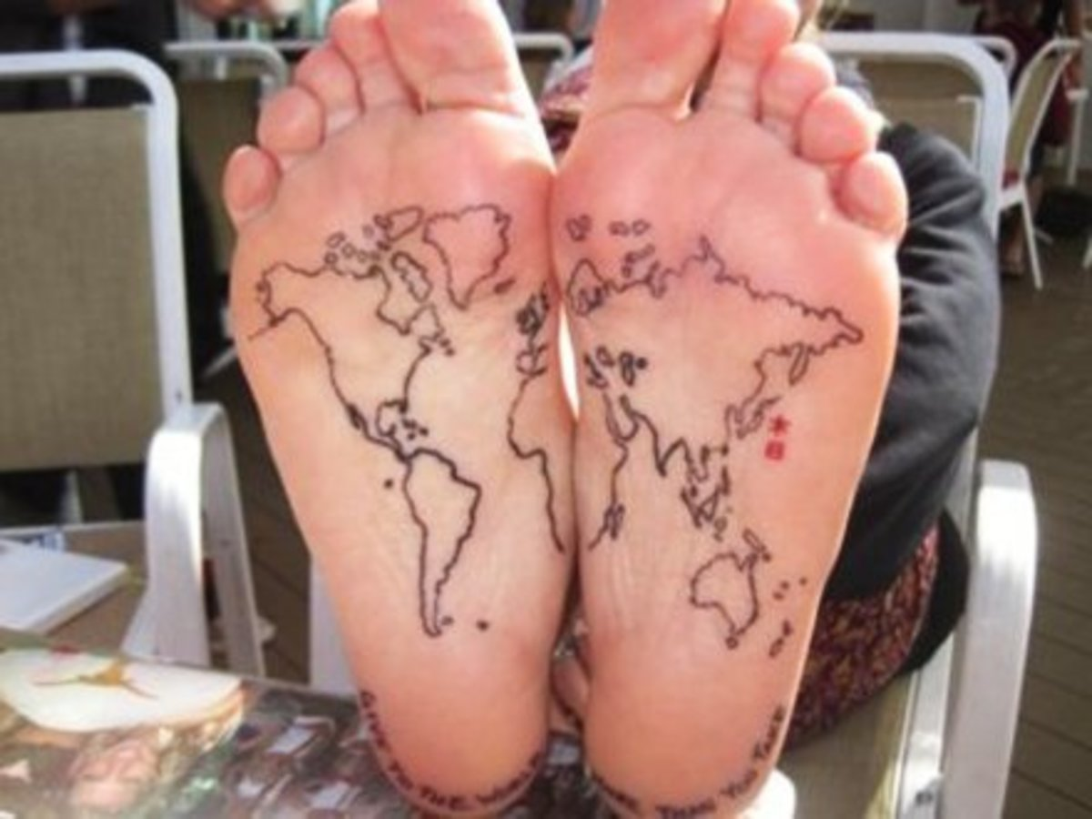 World-Map-Tattoo-Under-Feet