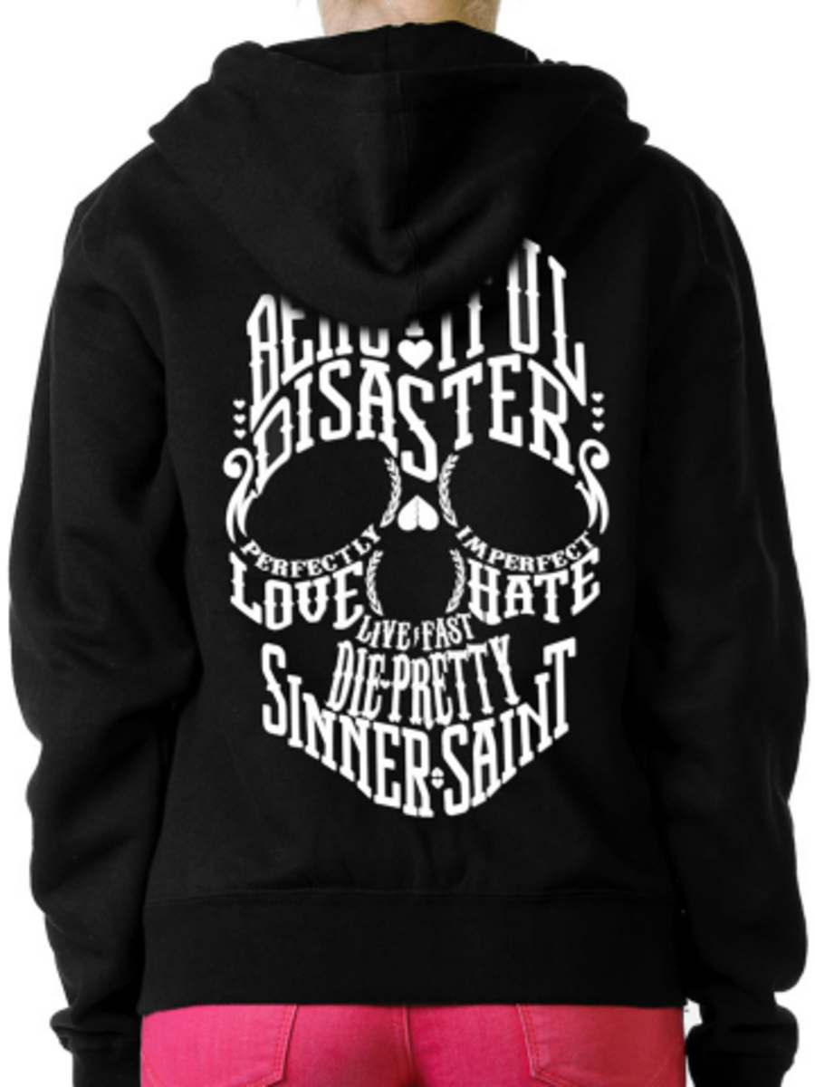 "Available at INKEDSHOP.COM: Women's ""Bella Disastre"" Hoodie by Beautiful Disaster"