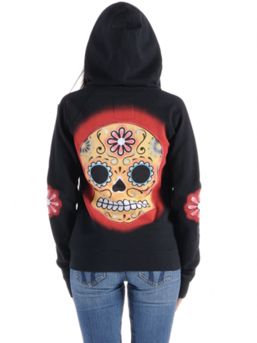 "Available at INKEDSHOP.COM: Women's ""Muerte"" Zip Up Hoodie by Angry Blossom"