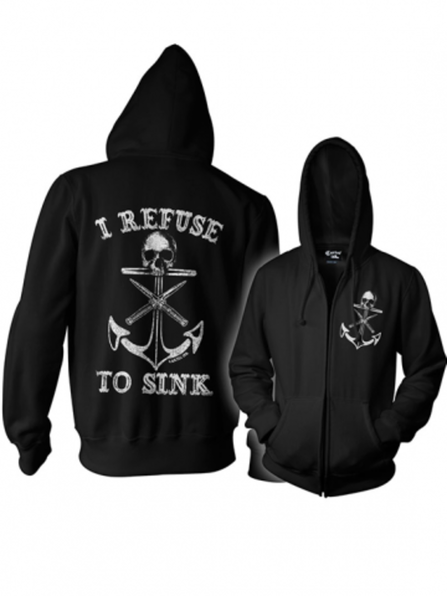 """Available at INKEDSHOP.COM: Unisex """"I Refuse to Sink"""" Zip Up Hoodie by Cartel INk"""