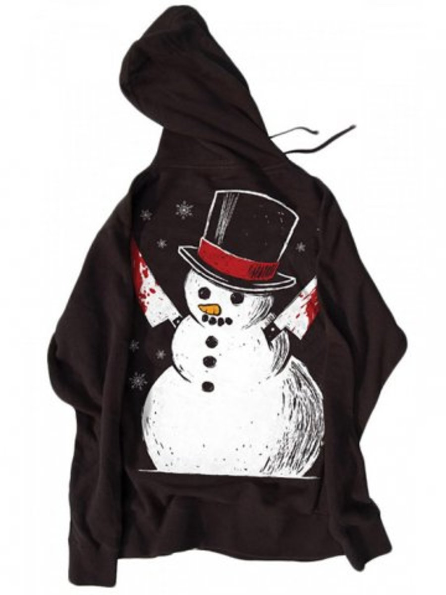 "Available at INKEDSHOP.COM: Men's ""Killer Snowman"" Zip Up Hoodie by Akumu Ink"