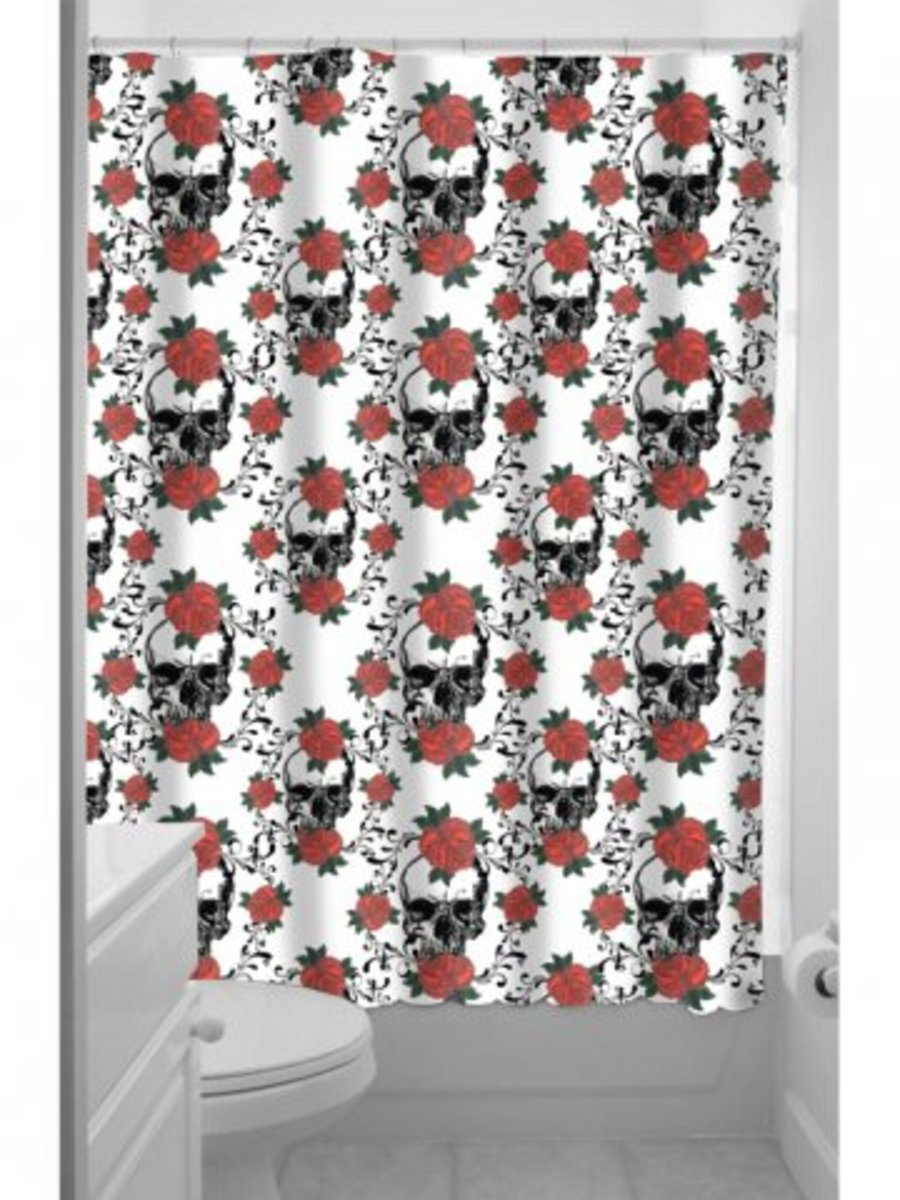 """Available at INKEDSHOP.COM: """"Skulls and Roses"""" Shower Curtain"""