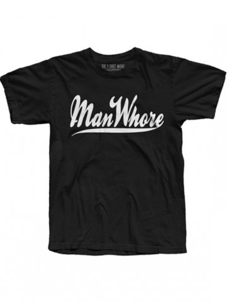 """Available at INKEDSHOP.COM: Men's """"Manwhore"""" Tee by The T-Shirt Whore"""