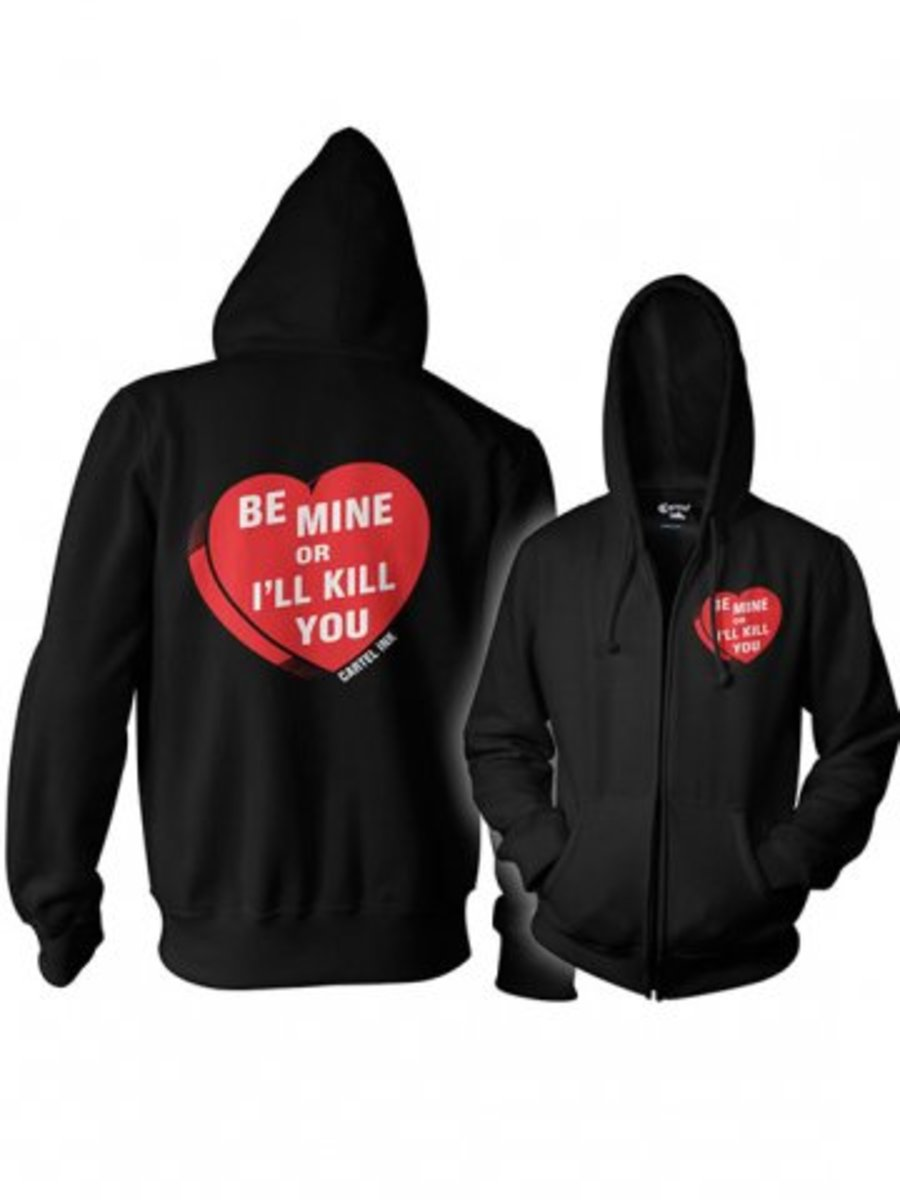 """Available at INKEDSHOP.COM: Unisex """"Be Mine"""" Zip Up Hoodie by Cartel Ink"""
