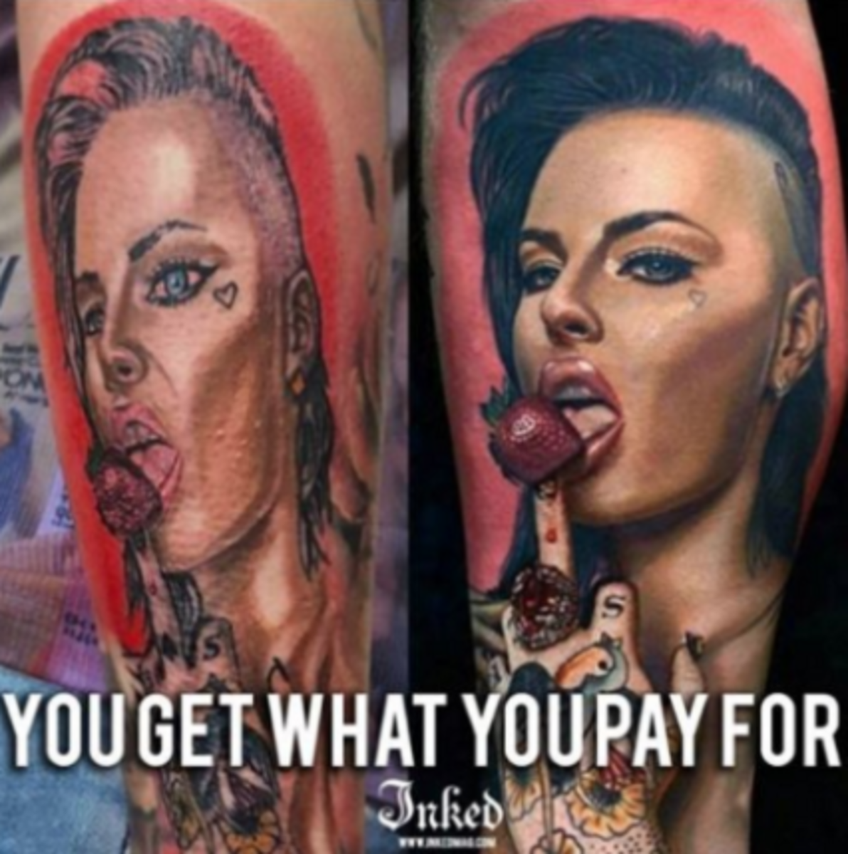 really bad tattoo compared to good one