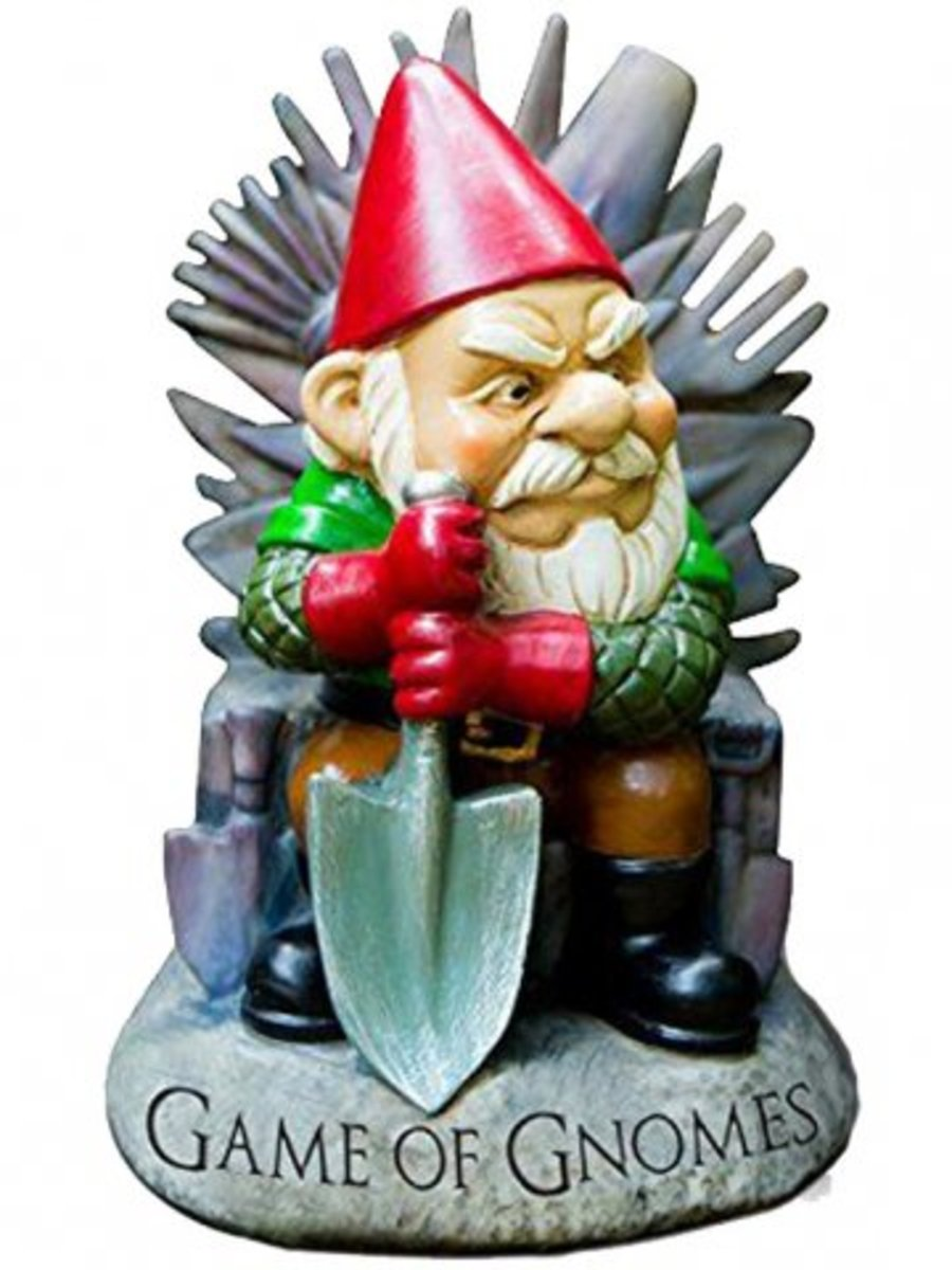 """Available at INKEDSHOP.COM: """"Game of Gnomes"""" Garden Gnome"""