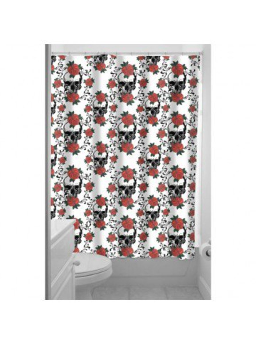 "Available at INKEDSHOP.COM: ""Skulls and Roses"" Shower Curtain by Inked"