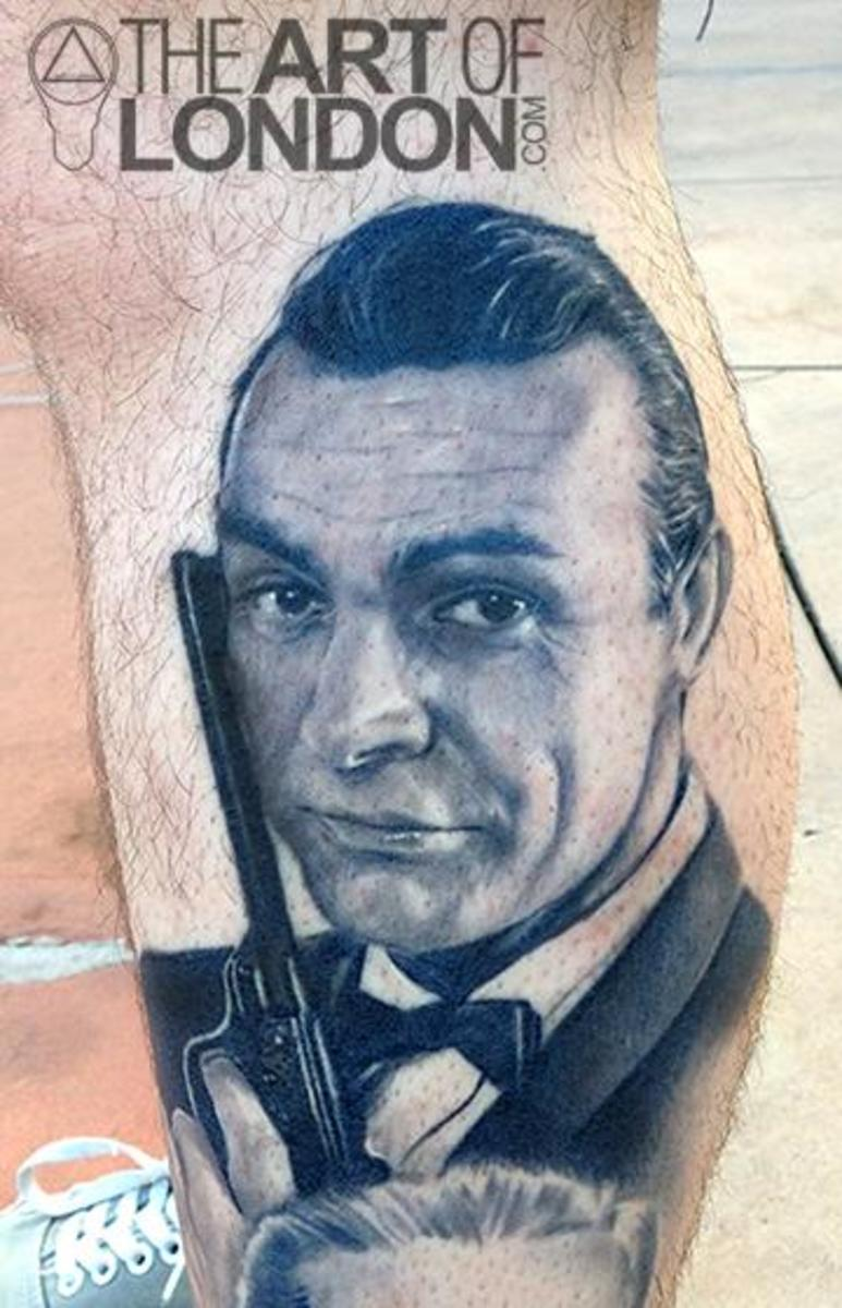 Tattoo of the greatest Bond of all, Sean Connery, inked by London Reese.