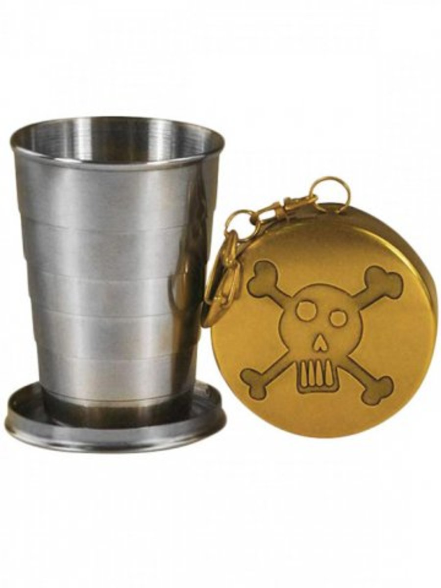 "Available at INKEDSHOP.COM: ""Skull & Bones"" Portable Shot Glass by Trixie & Milo"