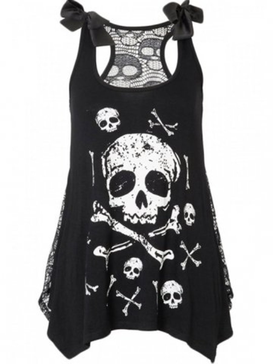 "Available at INKEDSHOP.COM: Women's ""Skull and Crossbones"" Tank with Skull Lace Back by Jawbreaker"
