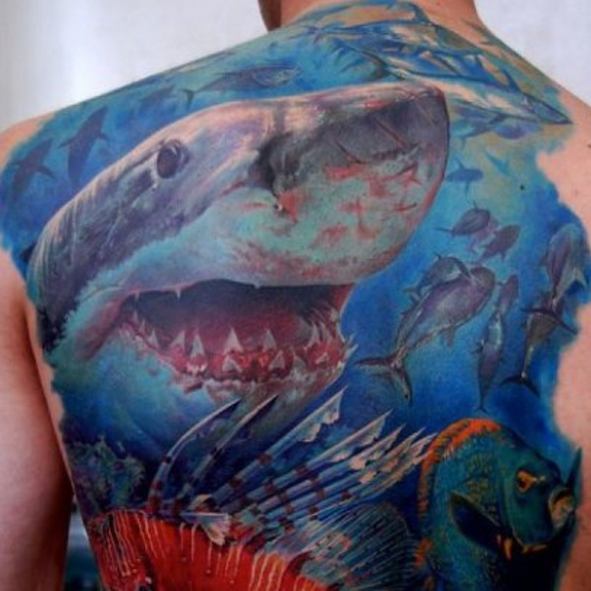 Image result for shark ocean tattoo