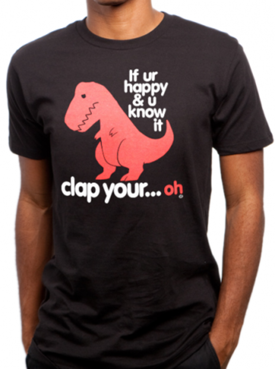 """Available at INKEDSHOP.COM: Men's """"Sad T-Rex"""" Tee by Goodie Two Sleeves"""