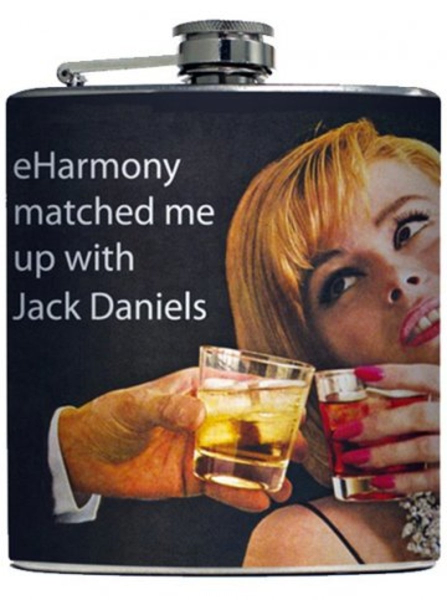 "Available at INKEDSHOP.COM: ""eHarmony Match"" Flask by Liquid Courage"